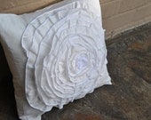 White flower ruffle pillow cover - vintage looking - 20 x 20 inches