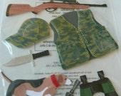 HUNTER DOG- Jolee's Boutique Scrapbooking Supplies stickers - Camo, Vest, Gun