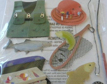 FISHING Jolee's Boutique 3d Scrapbooking stickers - TRIP, Fish, Fishing pole, Tackle Box, Hat and Vest