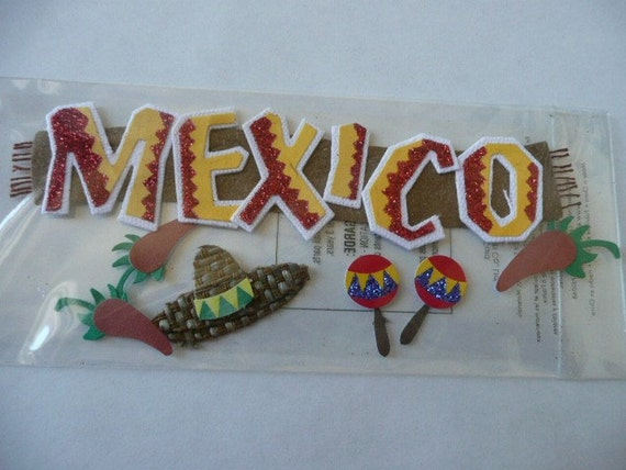 Jolee's 3d dimensional stickers - MEXICO - Title- Maracas, FIESTA, Red hot peppers, FUN