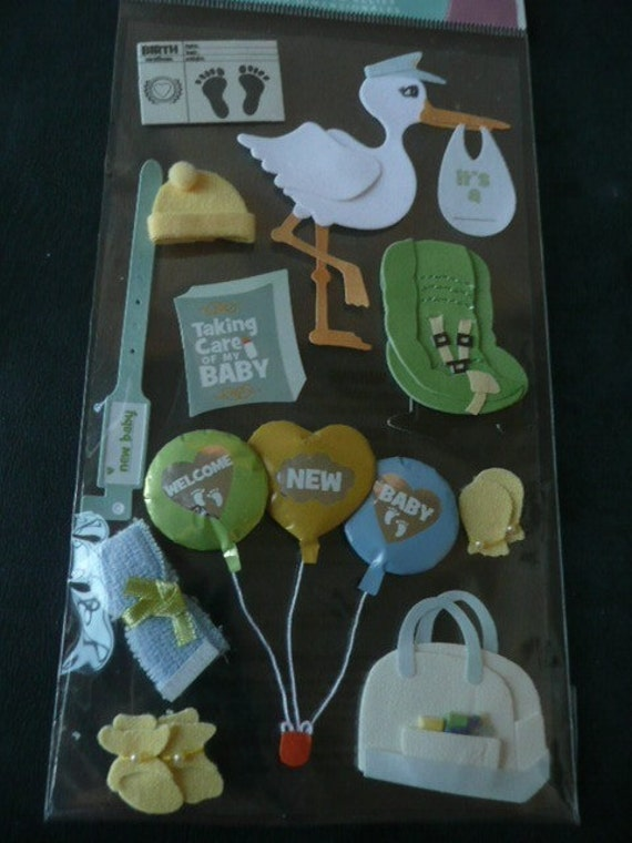 NEW BABY ARRIVAL Jolee's boutique Scrapbooking Supplies stickers - Stork, booties, balloon, Hospital band