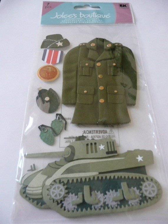 ARMY Jolee's Le Grande 3d Scrapbooking Stickers- Military, Uniform, Anchor, Stars, TANK