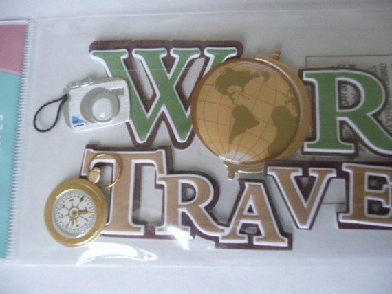 WORLD TRAVELER Jolee's Boutique Scrapbooking stickers Supplies - Vintage, globe, camera, compass and postcards
