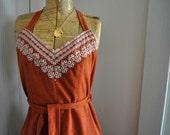 Vintage Rusty Chevron Wrap Dress - S,M,L