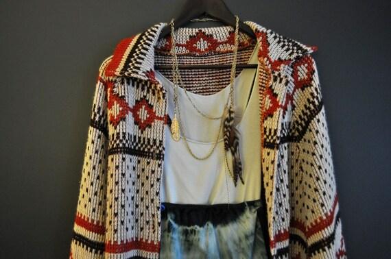 1970's Navajo Print Sweeping Boho Sweater Cape