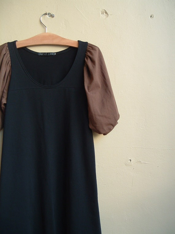 Dress Black and Chocolate Brown Cotton Jersey- extra small
