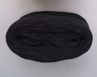 BLACK  Single Color Cotton yarn  240 yds/50 gr  Fingering Weight