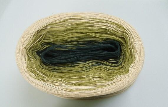NATURAL GREEN V  Color Changing Cotton yarn  50 gr / 240 yds  Fingering Weight
