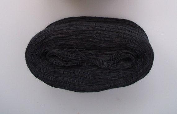 BLACK  Single Color Cotton yarn  240 yds/50 gr  Fingering Weight