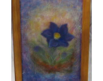 Pulsatilla - Easter Flower - wool fiber art , wall hanging , wool picture in waldorf tradition