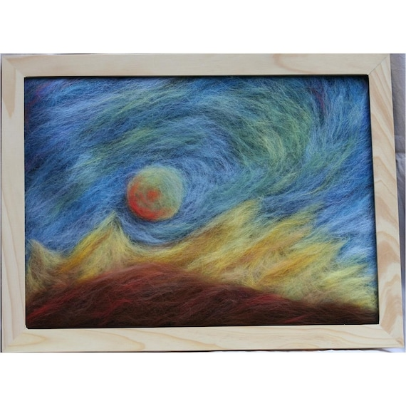 The moon is rising - wool picture - wool tapestry - wall hanging - in waldorf tradition