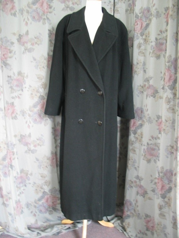 Vintage Regency Pure Cashmere black double breasted coat XXL pristine condition