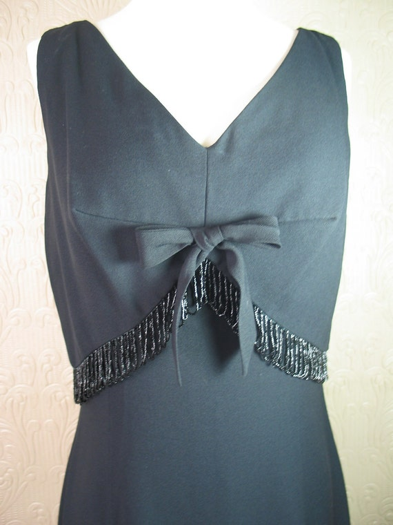 SALE was 40 vintage 50's 60's black wiggle dress with glass beaded trim