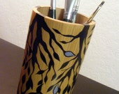 Hand Painted Bamboo Pencil Holder