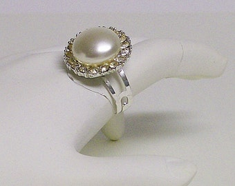 Ring Cocktail Vintage Faux Pearl and Rhinestone Adjustable