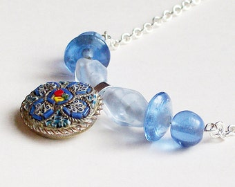 Necklace Vintage Mosaic and Glass Beads Blue