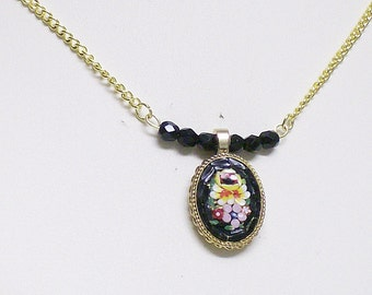 Necklace Vintage Mosaic with Crystals Black and Gold