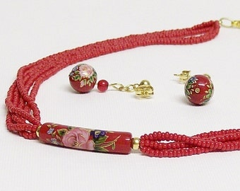 Necklace and Earring Set Red Floral