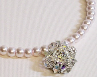 Necklace Vintage Crystal and Pale PInk Glass Pearls
