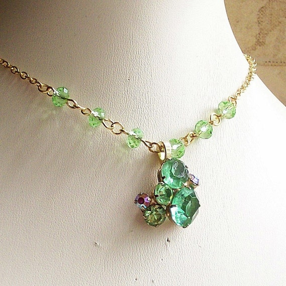 Necklace Vintage and Crystal Peridot