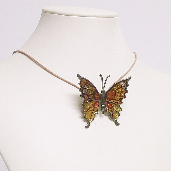 Necklace/Choker Vintage Butterfly Brooch  Orange and Yellow with Leather