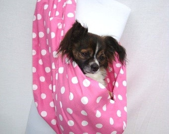 Pet Dog Sling Carrier- Pink and White Polka dot