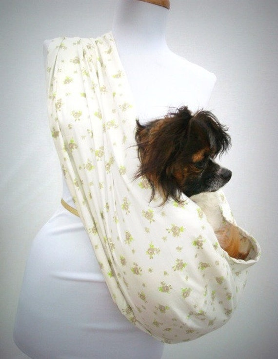 Pet Carrier Dog Sling-- White Cotton with Brown and Green Flowers OOAK This Fabric NO LONGER available at stores