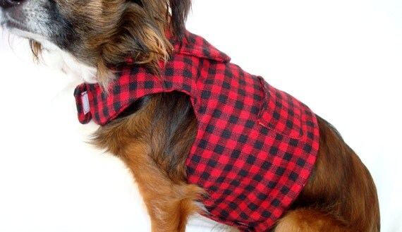 Pet Dog Plaid Jacket-Shirt-Red and Black Plaid Flannel