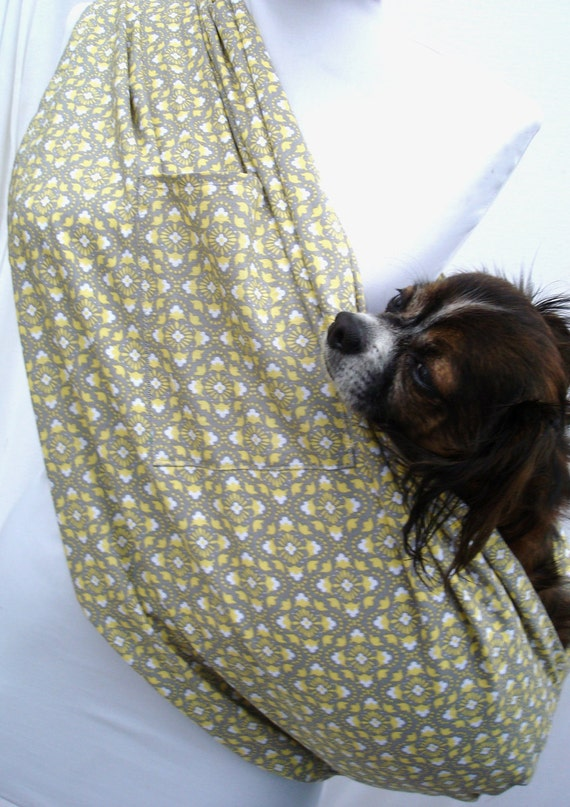 Pet Sling Carrier-Dog Carrier-Grey and Yellow Geometric-Cotton Fabric with pocket