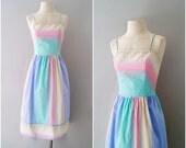 R E S E R V E D 80s sundress / striped pastel cotton dress / Sand and Sea dress