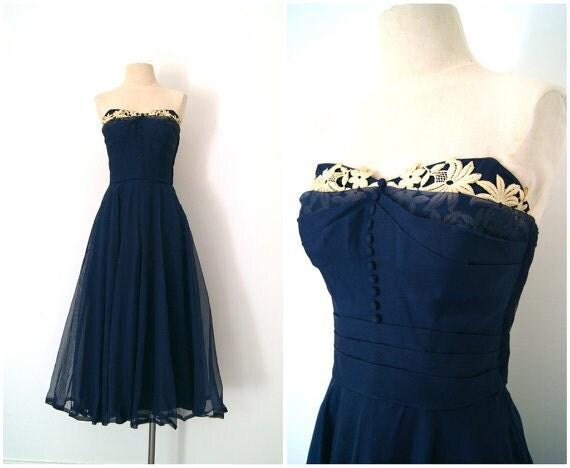 vintage 1950's Midnight Sun party dress