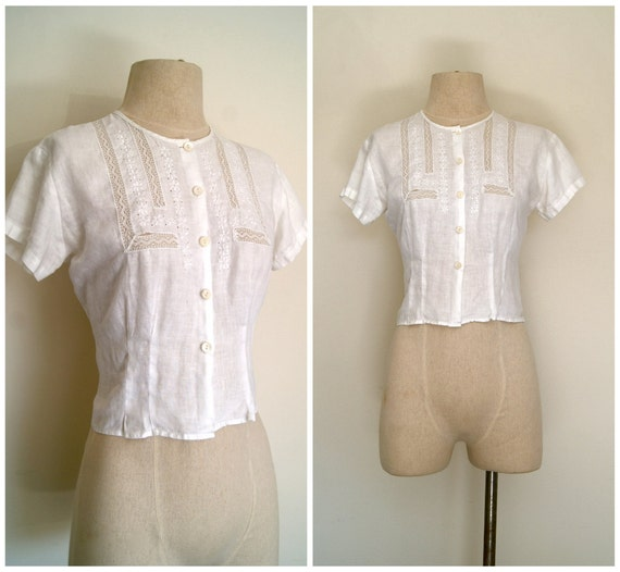 white cotton blouse //  linen crochet inlay vintage