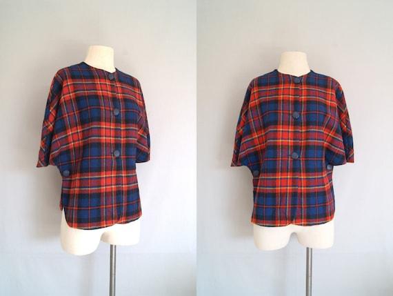 vintage 50s 60s cape coat // plaid size small