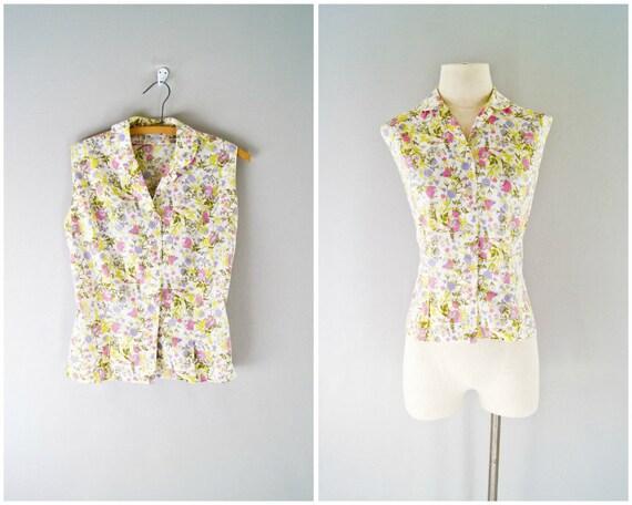 50s floral blouse // vintage 1950s cotton top
