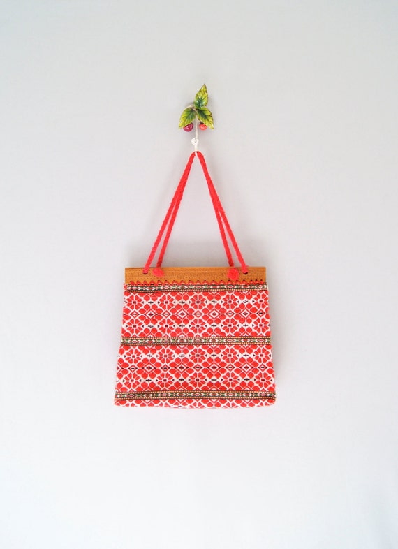 60s embroidered purse // woven ethnic boho bag
