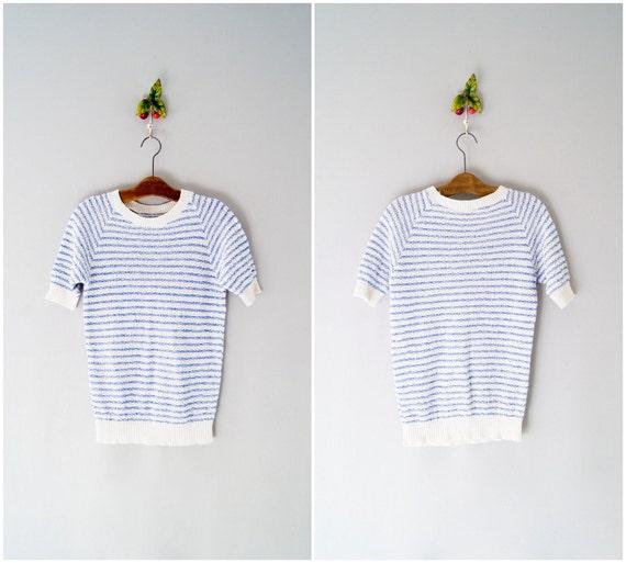 80s knit top / striped raglan shirt / St. Tropez top