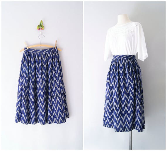 FREE SHIPPING 90s skirt // IKAT cotton midi skirt Neiman Marcus