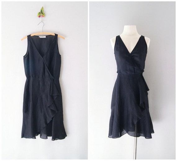 70s Valentino dress / linen wrap dress / Night Moves dress