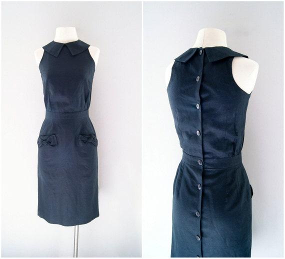 R e s e r v e d for Clireland 90s black dress / linen wiggle cocktail dress