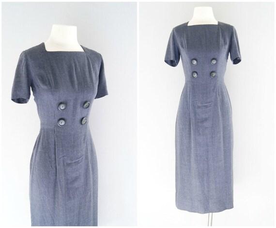 60s wiggle dress / 1960s grey wool dress