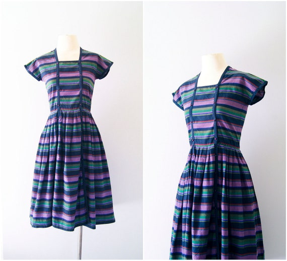 cotton dress / early 80s Albert Nipon day dress / Between the Lines dress