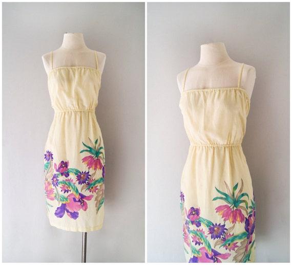 70s sundress / strappy floral cotton dress / Sunset Cruise dress
