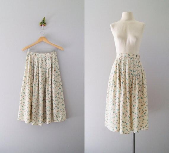 50s skirt / 1950s novelty print silk skirt / Top Spin skirt