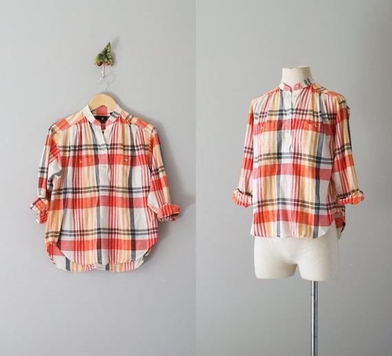 80s blouse / plaid cotton popover top / Sun Plaid top