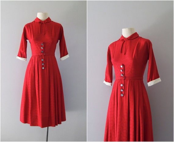 40s dress / 1940s classic red day dress / Red Robin dress