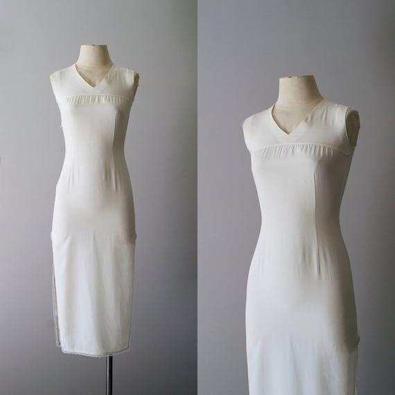 silk dress / vintage white silk dress / Moon Phases dress