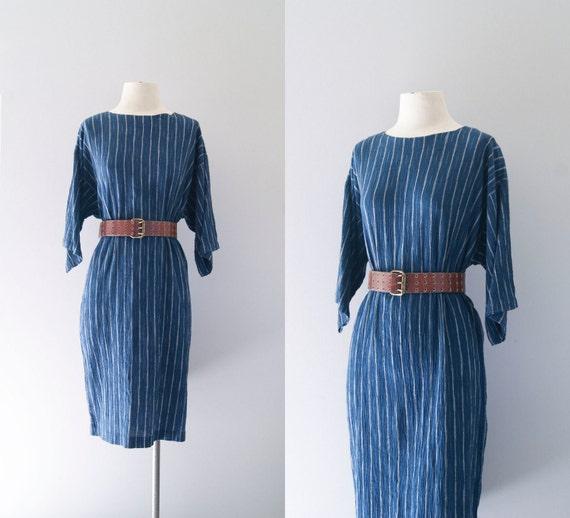 70s dress / 1970s gauze cotton striped tunic / Indigo Lines dress