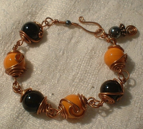 Orange and Black Wire Wrapped Bracelet   CHRISTMAS SALE  REG 10.99