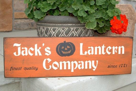 Jack's Lantern Co. -- Halloween, distressed, wood sign