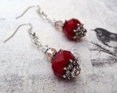 Sweetheart Ruby Red and Blush Earrings